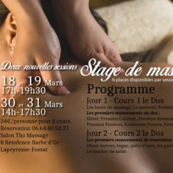 Stage de massage en mars