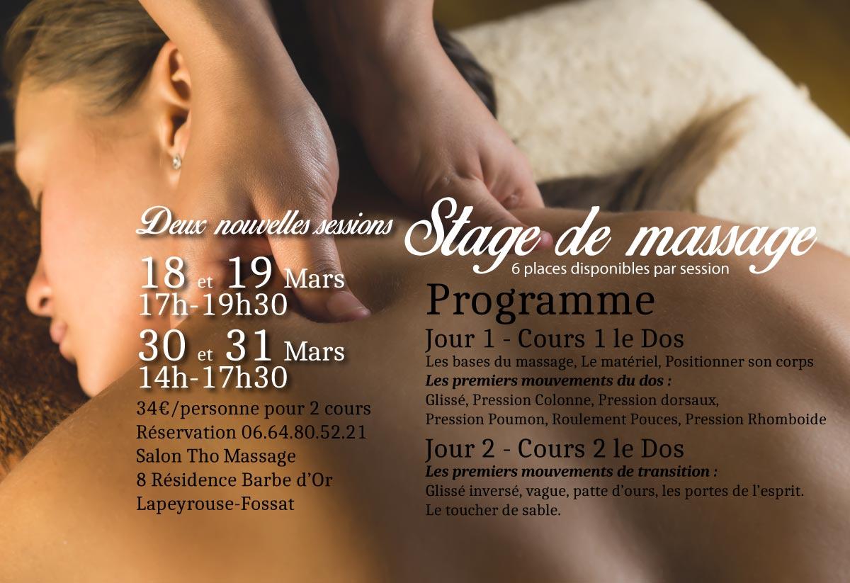 Stage de massage en mars